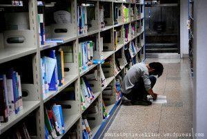 Fotos de Shanghai: chino leyendo en el suelo